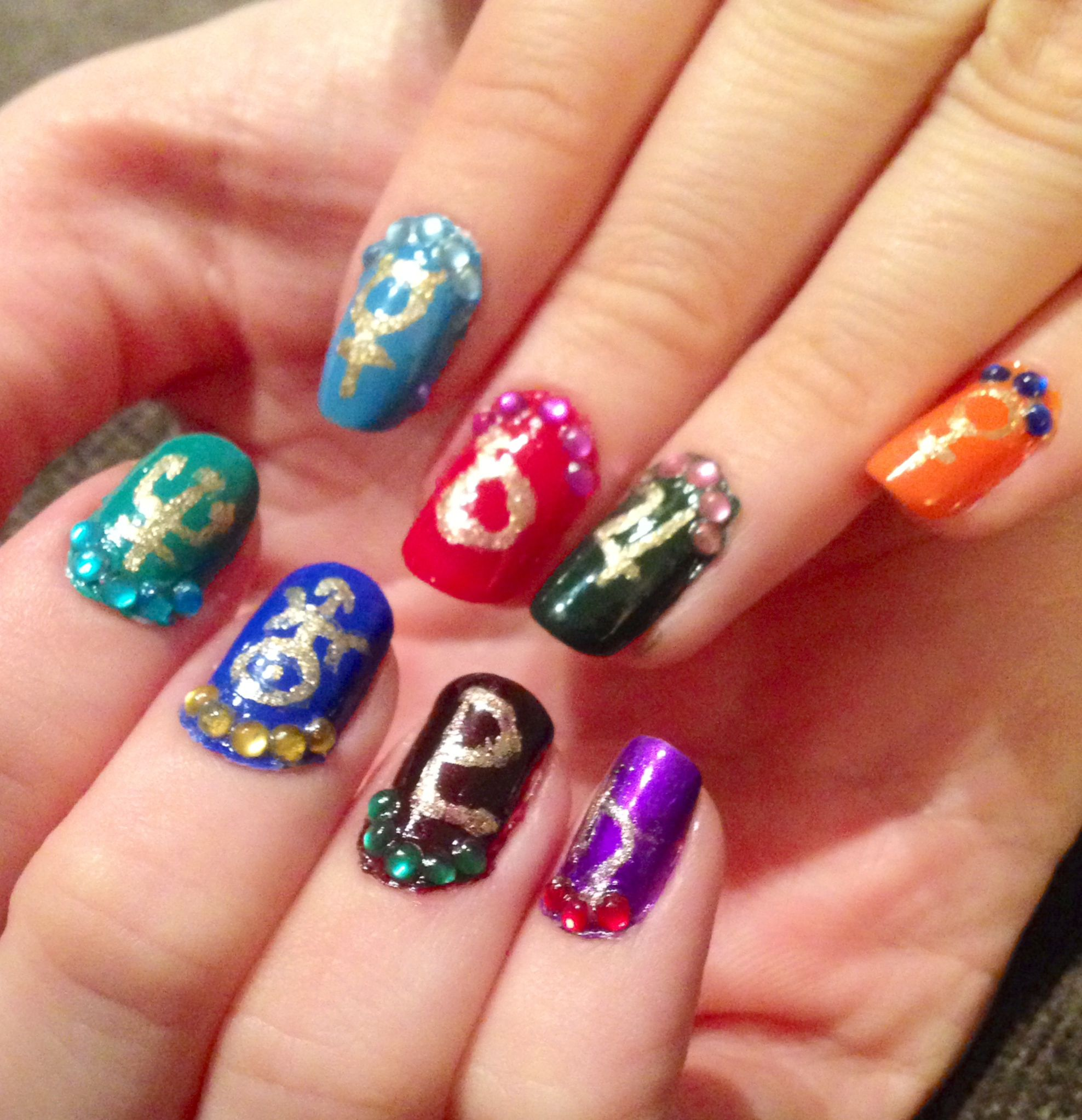 Fandom inspired sailor moon sailor senshi inspired nails for for each of my nails i did two things first i painted the nail with the main color ie skirt and collar of the uniform then i placed a small curve of biocorpaavc Images