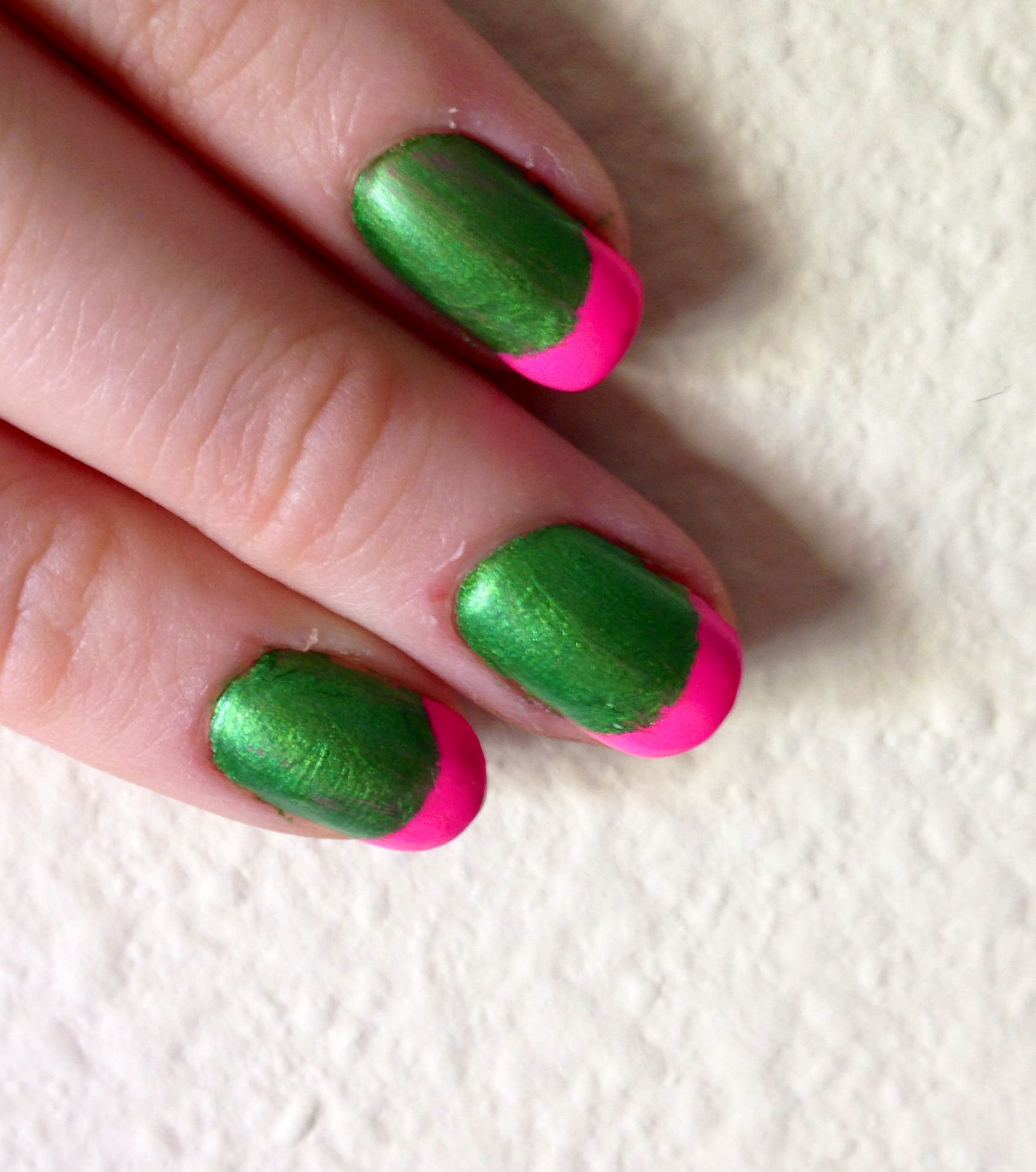 Nails This Week - Pink & Lime French Tips - Nails For Nickels